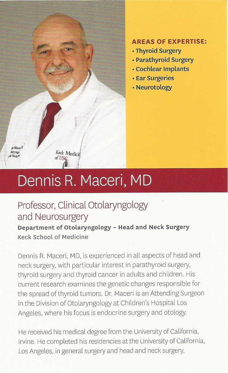 Dr. Dennis Maceri, MD will be joining us for our October HNC Support meeting