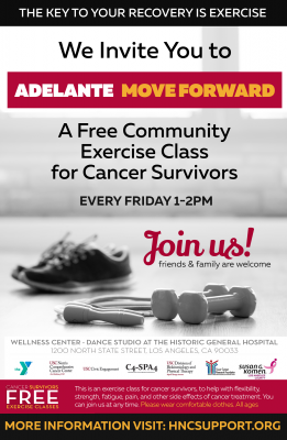 "A free community exercise class for cancer survivors called Adelante or ""Move Forward"""